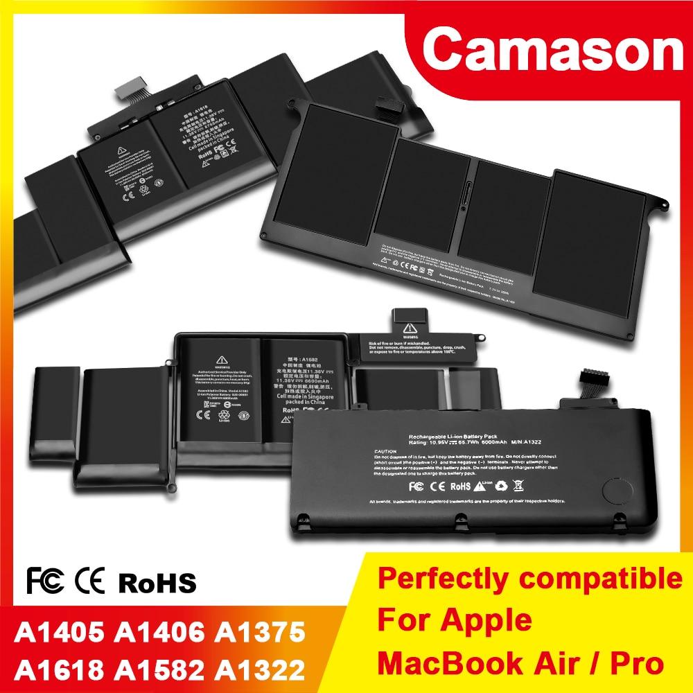 Camason بطارية لأجهزة الكمبيوتر المحمول أبل ماك بوك برو/بطاريات دفتر الهواء A1278 A1502 A1398 A1466 A1370 A1322 A1369 A1375 A1405 A1406