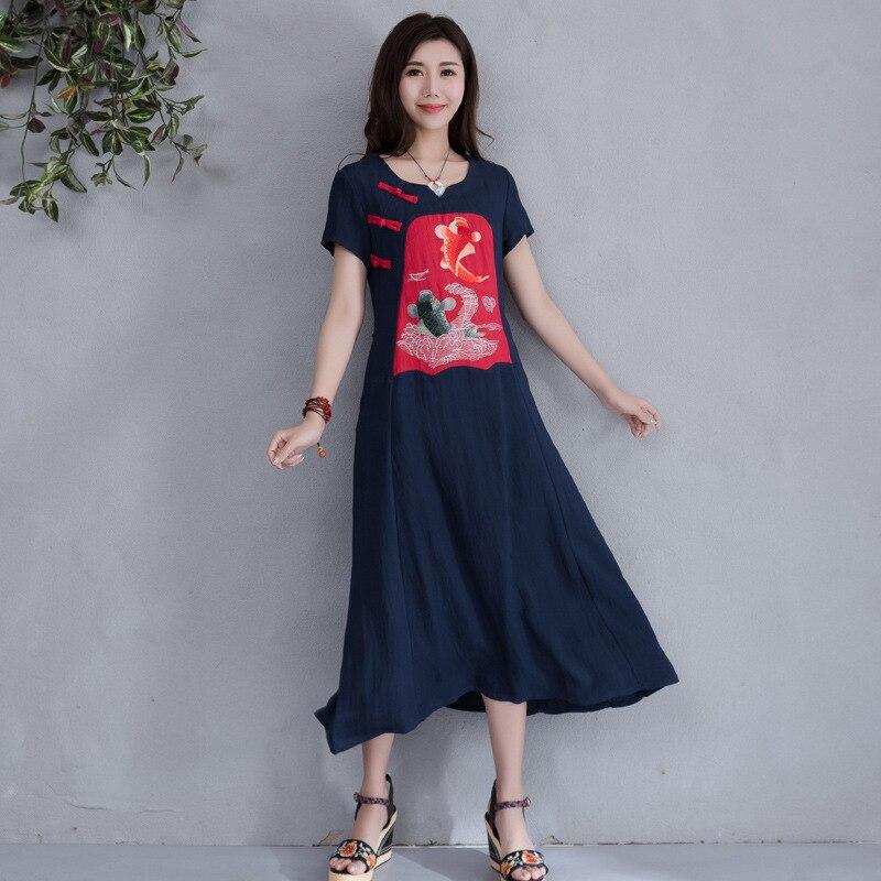 Primavera y verano nuevo estilo de manga corta yunnan-estilo étnico Rana Retro bordado de lino de longitud media de algodón Lino grandes dobladillo
