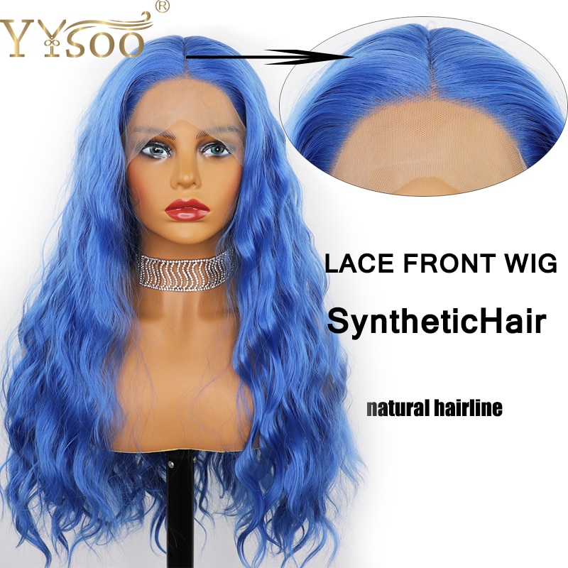 YYsoo peluca rizada delantera de encaje sintético azul largo 13x4 fibra Kanekalon sin pegamento Mitad de pelo azul atado a mano con pelo de bebé para mujeres