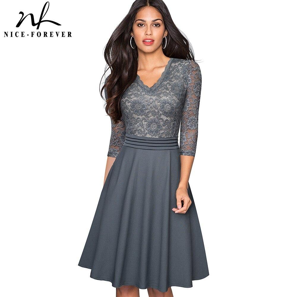 Женское винтажное платье Nice-forever, черное платье с цветочным принтом, прозрачным рукавом и рюшами, а-силуэта, для деловых женщин, A062