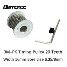 HTD 3M zamanlama kasnağı 20 diş 6.35mm 8mm delik boyutu 16mm genişlik zamanlama kemeri kasnak 3M CNC makineleri lazer oyma makinesi