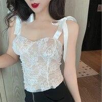 korean women tank tops camisole women lace silk strap top woman sleeveless satin bow lace tank tops plus size vintage halter top