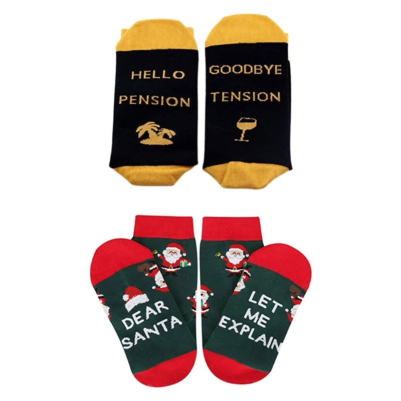 Men Women Novelty Funny Saying Crew Socks Dear Santa Hellow Pension Letters Print Christmas Holiday Retirement Stockings Xmas