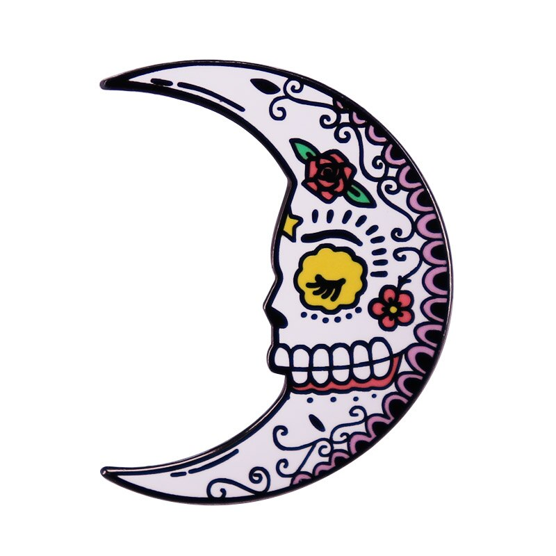 Day of the Dead Dreamy Lapel Pin Isn't this the sweetest little sugar skull moon you've ever seen? An absolute color explosion!