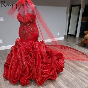 Plus Size Mermaid Long Wedding Dresses Exquisite Beaded Top Sweetheart Neck Tiered  Ruffles African Women Red Bridal Gowns