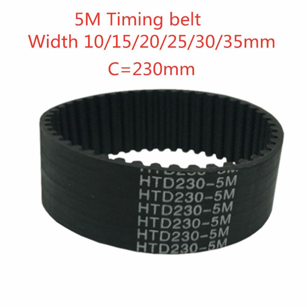HTD 5M Зубчатый Ремень C = 230 мм Ширина ремня 10 мм/15 мм/20 мм/25 мм/30 мм/35 мм зубцы 46 HTD5M резиновый синхронный ремень 230-5 м шаг 5 мм
