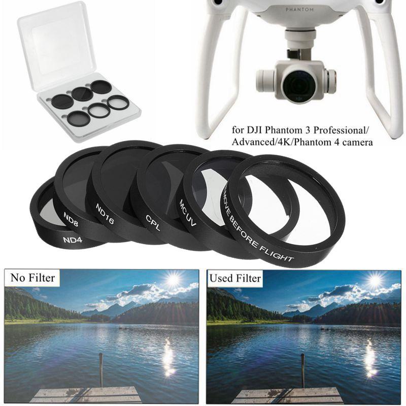 6pcs Camera Lens UV+CPL+ND4/8/16 Filter Protect for DJI Phantom 4/Phantom 3 Pro/Advanced RC438