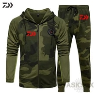 daiwa fishing suit camouflage long sleeve hooded soft spring fashion pocket drawstring daiwa fishing clothes pant outdoor sports