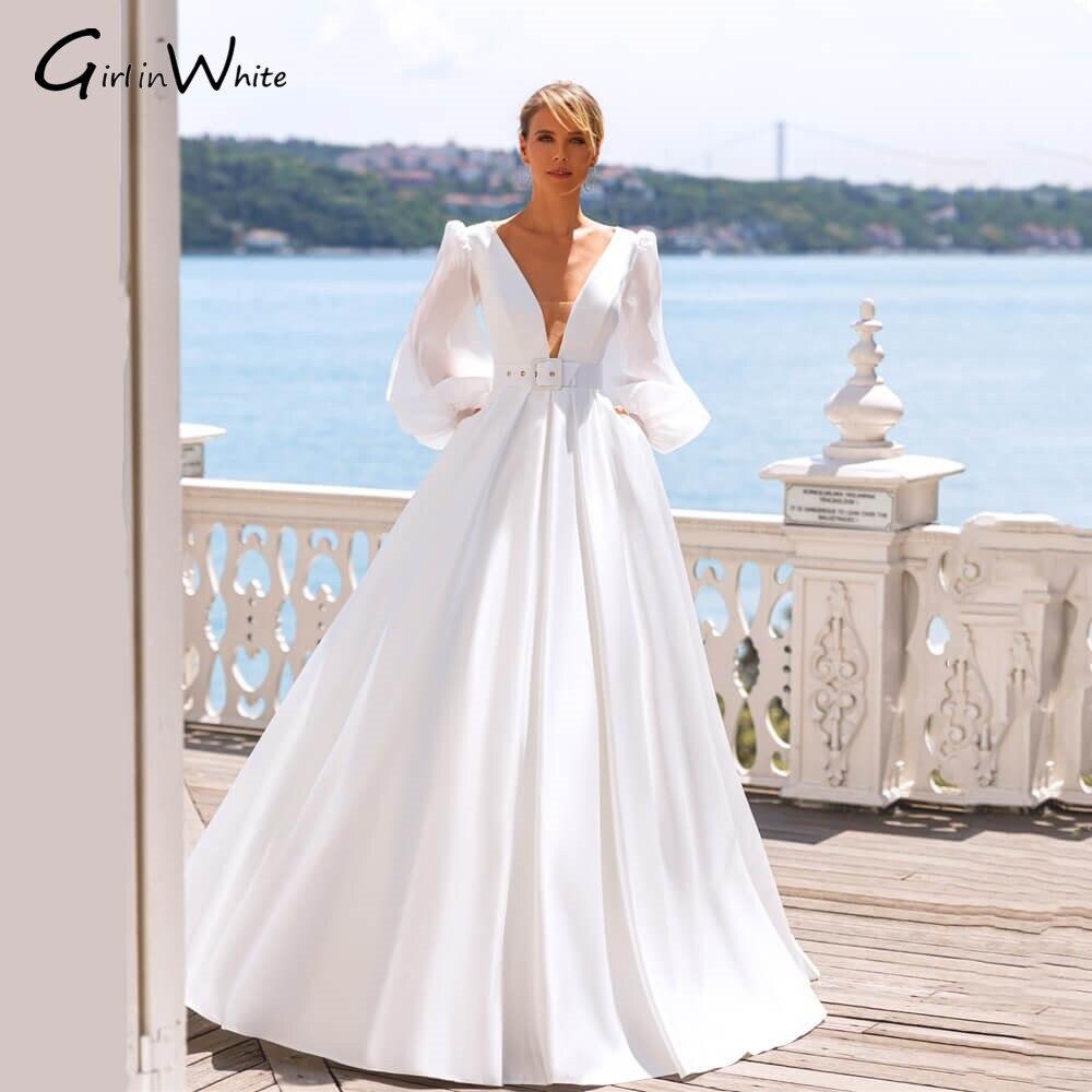 Get Long Puff Sleeve Satin Wedding Dressess Chiffon Sexy Deep Double V Neck Bridal Gowns Bride to Be Fall Wedding Vestido De Novia
