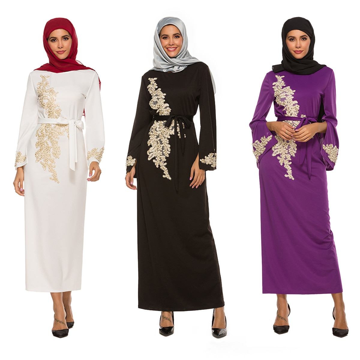 Muslim Dubai Abaya Trumpet Long Sleeve Dress Dubai Abaya Turkish Muslim Women's Dress Long Muslim Dress ribbon tape detail trumpet sleeve smock dress