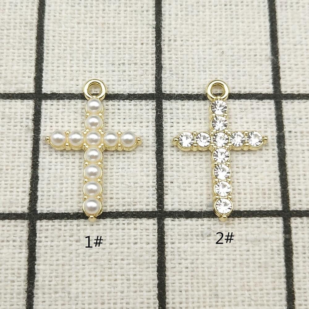 10 pçs cruz charme jóias acessórios brinco pingente pulseira colar encantos diy encontrar 15x23mm Encantos    -