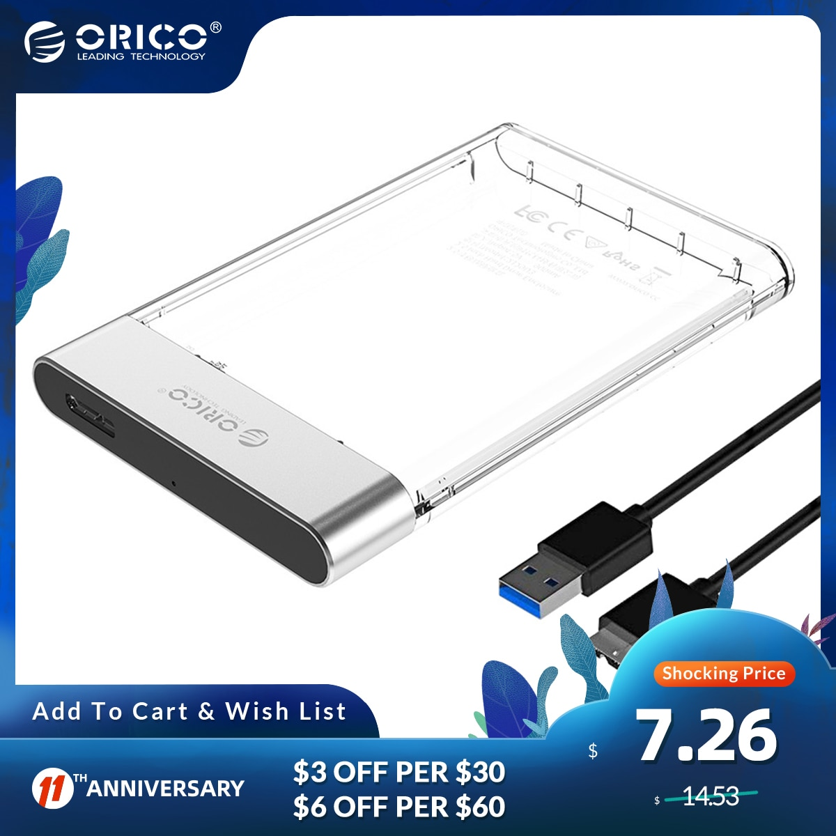 ORICO 2.5 inch HDD/SSD SATA to USB 3.0 Hard Disk Case Tool Free 6Gbps Support 4TB UASP Case HDD Box Transparent Add Metal Dsign