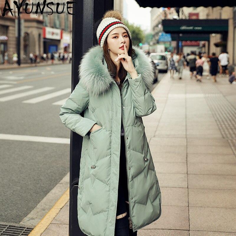AYUNSUE invierno Mujer chaqueta Cuello de piel de mapache Abrigos Mujer blanco...