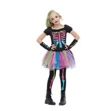 Reneecho 2021 New Arrival Rainbow Skeleton Girl Costume Toddler Funky Punky Bone Costume Halloween Costume For Kids