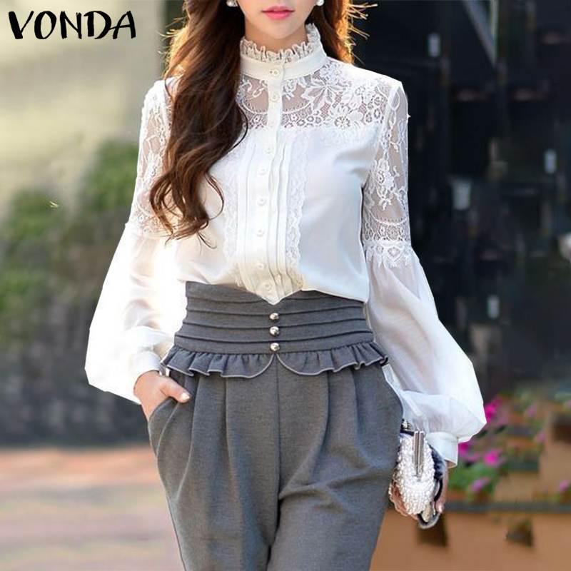 Camisas de mujer de oficina 2020 VONDA de talla grande Blusas de mujer Casual Vintage de manga larga de encaje Tops túnica Bohemia Blusas
