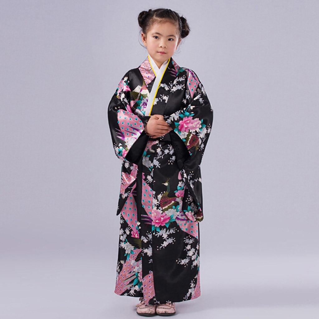 Детская одежда; японское платье-кимоно с цветочным принтом; Традиционное детское платье юката для сцены; танцевальное платье для маленьких девочек; одежда для маленьких девочек