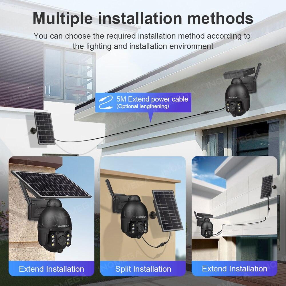 INQMEGA WIFI Outdoor Solar Camera Video Surveillance Wireless Security Detachable Solar Cam Battery Recorder