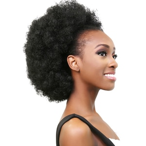 Hairpiece Hair Afro Puff Synthetic Curly Chignon Bun Fake Drawstring Hair Extension Piece with Clips in Large Size