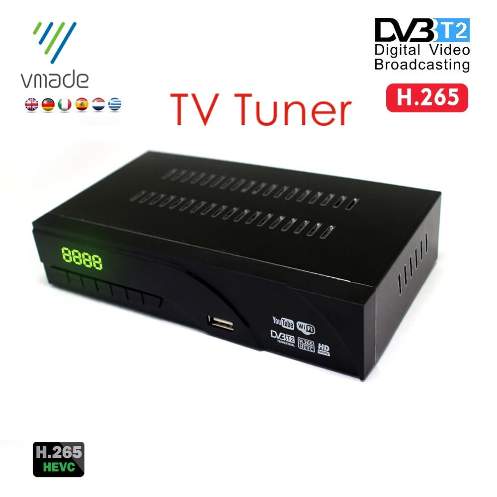 Vmade DVB-T2 наземный цифровой ТВ-приемник H.265/HEVC ТВ-тюнер с ТВ SCART Suport Youtube MPEG-4 Россия Испания