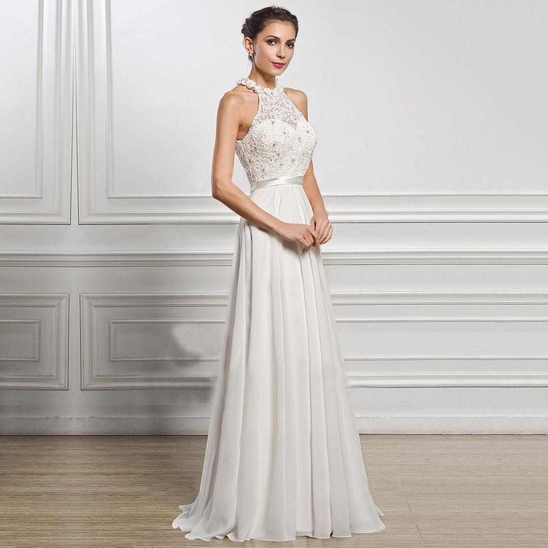 Get 2021 luxury high quality European and American fashion sexy sleeveless dress temperament simple backless slim wedding dress