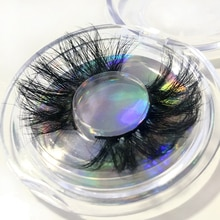 Buzzme 3D Real Mink Fur Eyelashes 25mm Extra Length Dramatic Eye Lash Crossed Thick Makeup Lashes