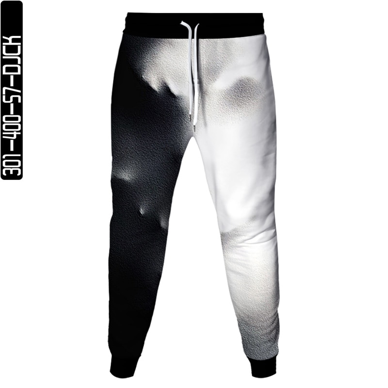 Summer black and white color matching 3D printing mens sports trousers casual outdoor jogging quick-drying loose fitness pants