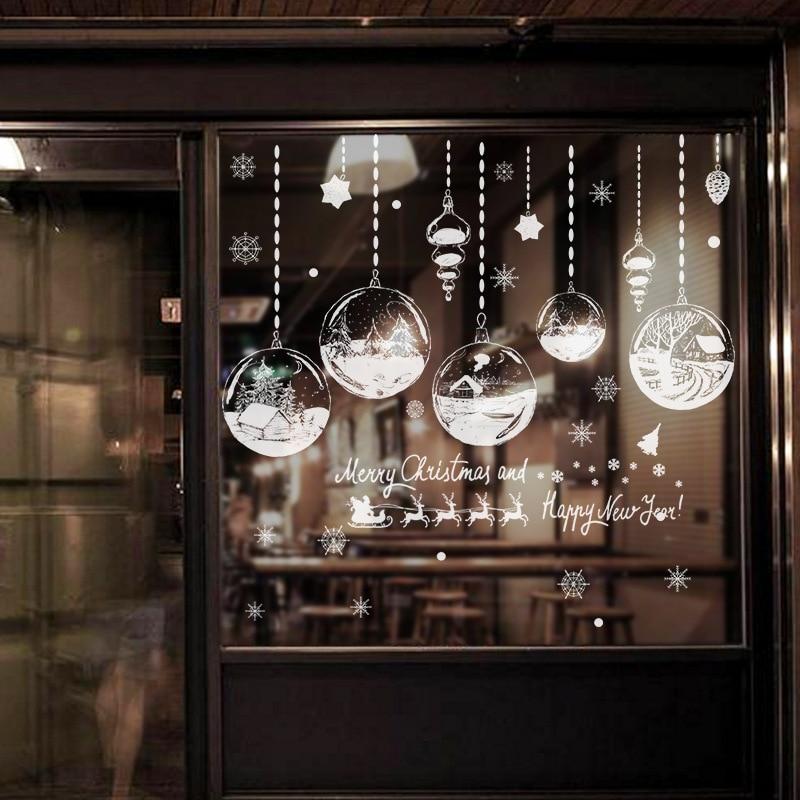 Décor à la maison autocollants de fenêtre de noël auto-adhésif suspendu boule de neige pendentif nouvel an noël Festival verre Stickers muraux