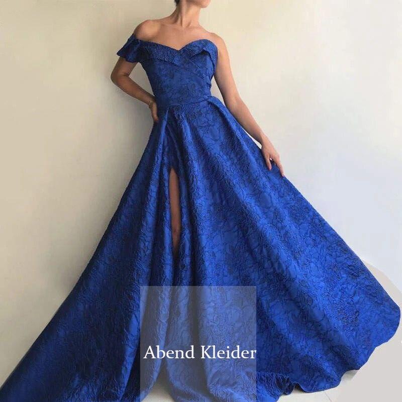 Long Arabic Blue Lace Abendkleider One Shoulder Evening Dresses 2021 with Slit Prom Gowns abiye gece elbisesi