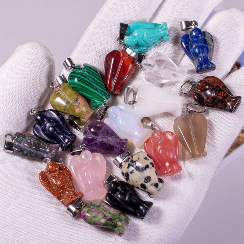 30pcs Natural Stone Crystals Quartz Crystal Turquoises Opal Tiger Eye Angel Pendant Pendulum Charms For Necklaces Jewelry Making