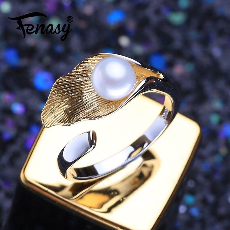 FENASY 925 пробы Серебряное кольцо кольца с натуральным пресноводным жемчугом для женщин серебро и золото цвет на заказ женское кольцо хорошее ...