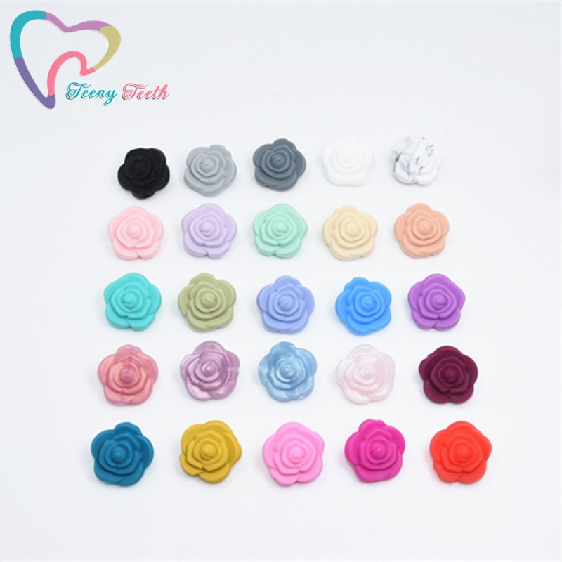 10PCS Mini Flower Pearl Silicone Rose Teether Bead BPA Free Baby Teething Necklace Toys DIY Newborn