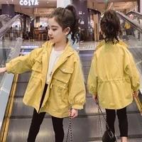 japan korean style spring autumn children kids streetwear coat 2021 new brand kpop girls trench raincoat loose outerwear jacket