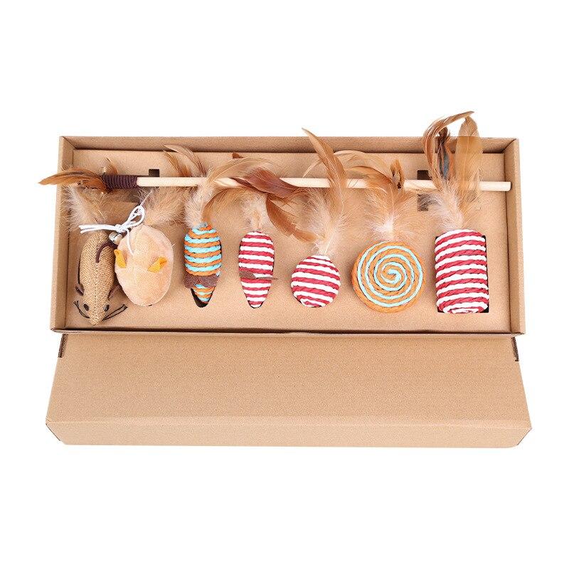 Juego de juguete de gato de siete piezas, divertido palo para gato, pluma, Bola de paja, piruleta de cuerda trenzada, ratón pequeño, caramelo, campana, MTZ