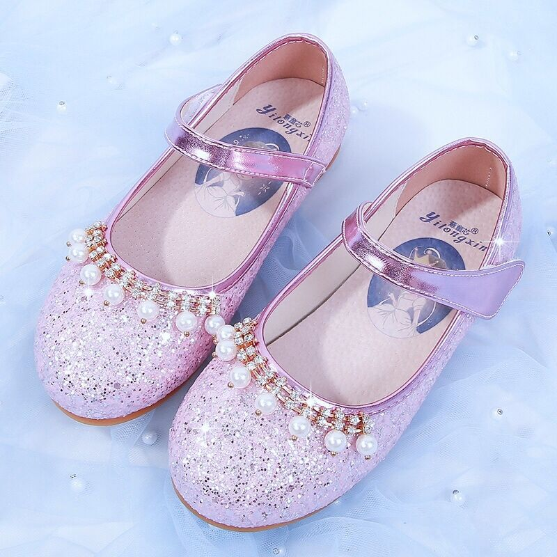 Girl's leather shoes children's princess shoes children's single shoes glittering leather shoes children's crystal shoes enlarge