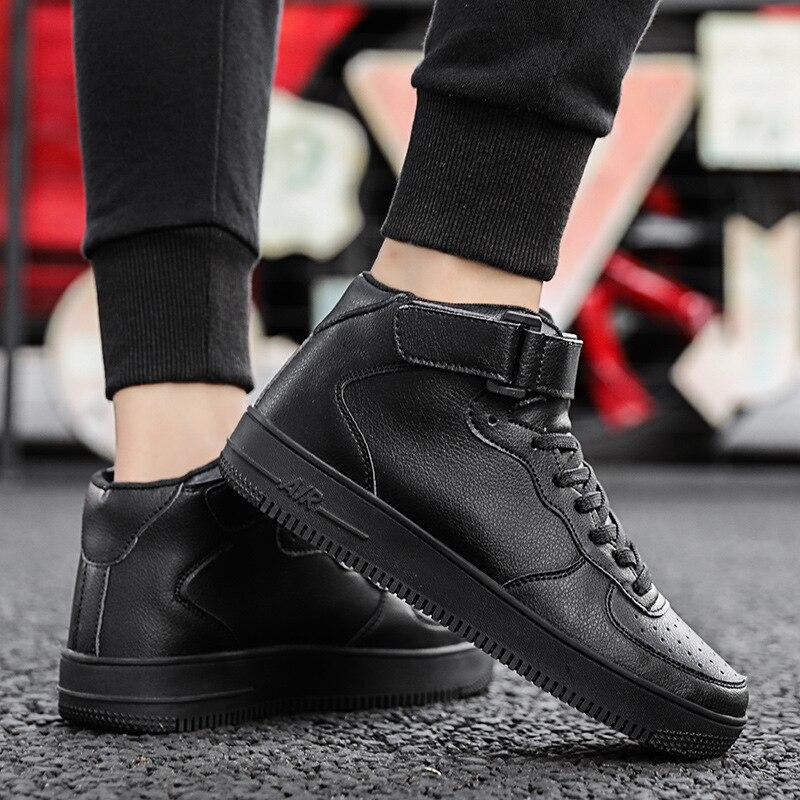 Otoño uno de alta calidad de los zapatos casuales de los hombres de los deportes de nuevo estilo zapatos de los hombres de cuero grueso de fondo Velcro zapatillas de vestir