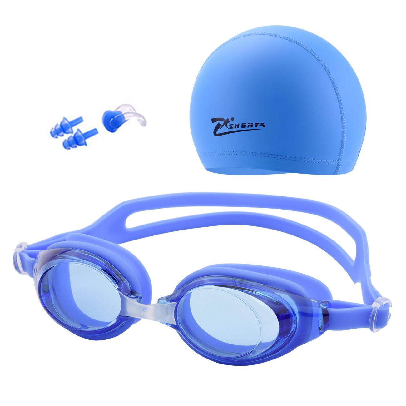 Очки для плавания шапка с очками, противотуманные, водонепроницаемые, с берушами, для бассейна, для мужчин, детей, женщин, мужчин, взрослые, с...