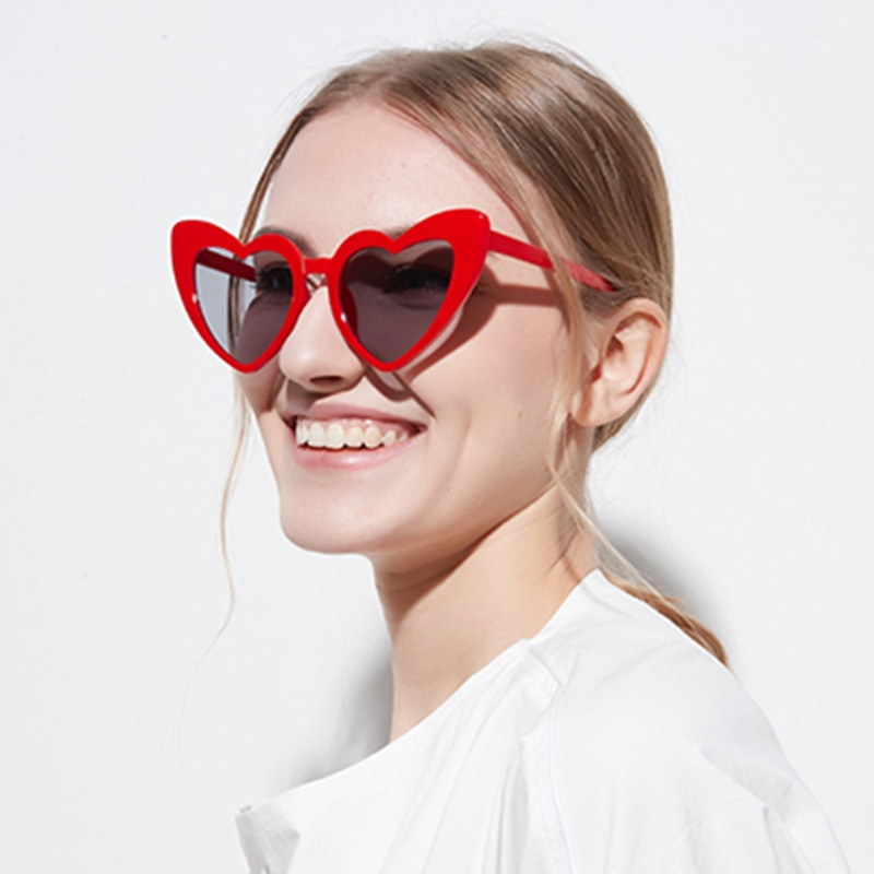 Heart Sunglasses Women brand designer Cat Eye Sun Glasses Retro Love Heart Shaped Glasses Ladies Sho