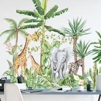 Autocollants muraux 3D animaux jungle feuilles vertes  decoration de maison  dessin anime amovible  elephant girafe  stickers muraux pour chambre denfants