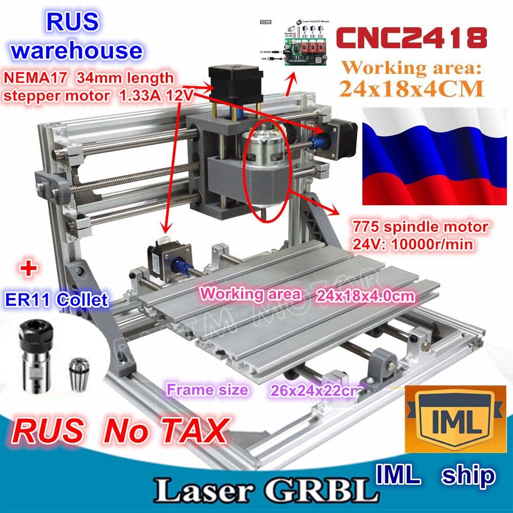 RU ship 2418 GRBL control DIY CNC máquina área de trabajo 24x18x4,0 cm, fresadora de madera de 3 ejes Pcb, grabador de talla, v2.5