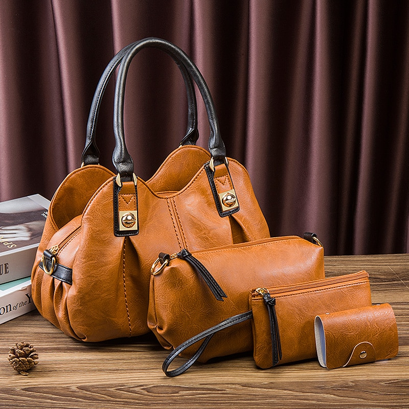 Fashion Women Handbag PU Leather Brown Hand Bags Creative Personality Green Totes Large Capacity Lad