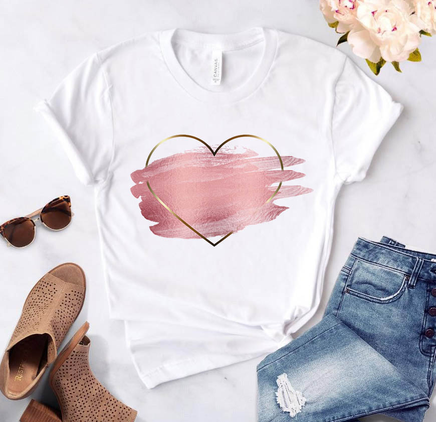 Heart flower print ladies T-shirt ladies casual basis O-collar white shirt short sleeve ladies T-shirt love graphic printing