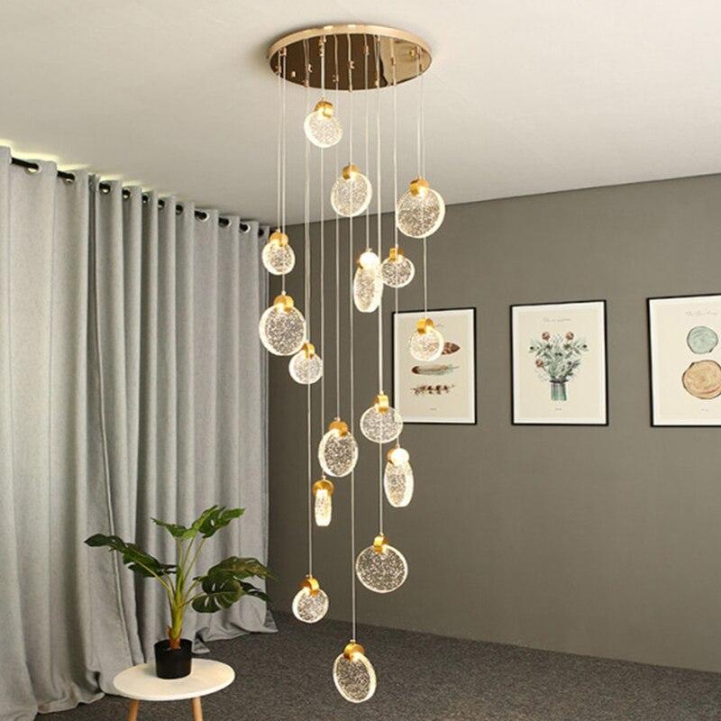 Современная хрустальная светодиодная люстра в стиле лофт, Роскошная лампа для гостиной, столовой, декоративный светильник для лестницы, кв...
