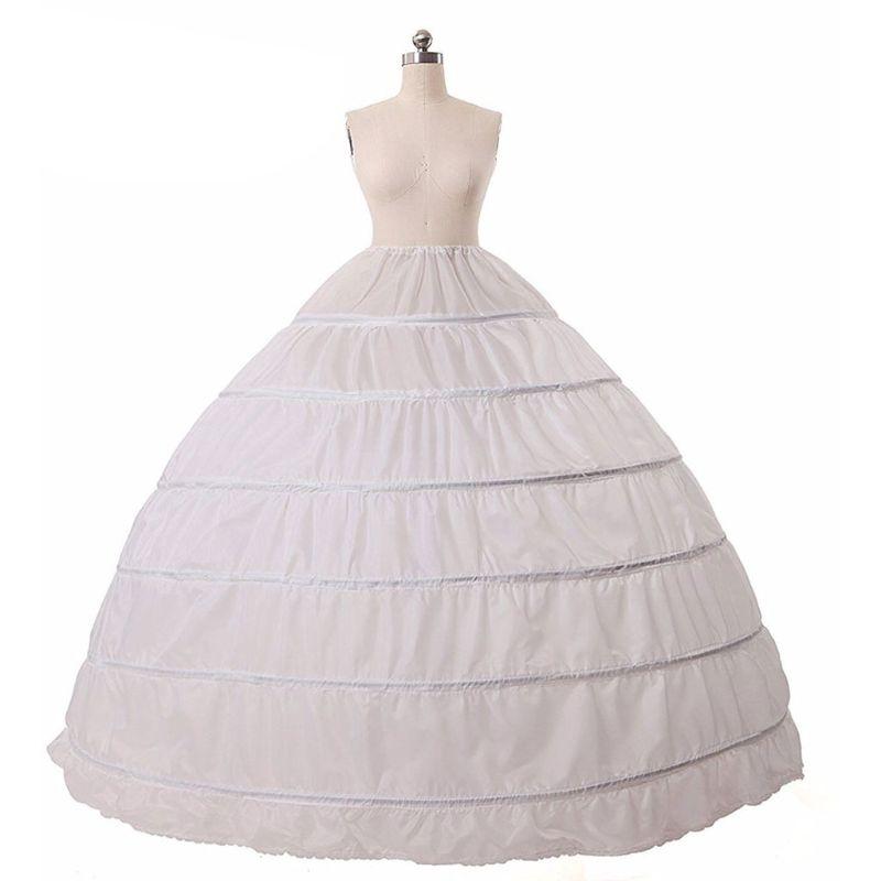 6 aros sin hilo Falda grande vestido de novia nupcial boda soporte enagua mujeres traje faldas forro