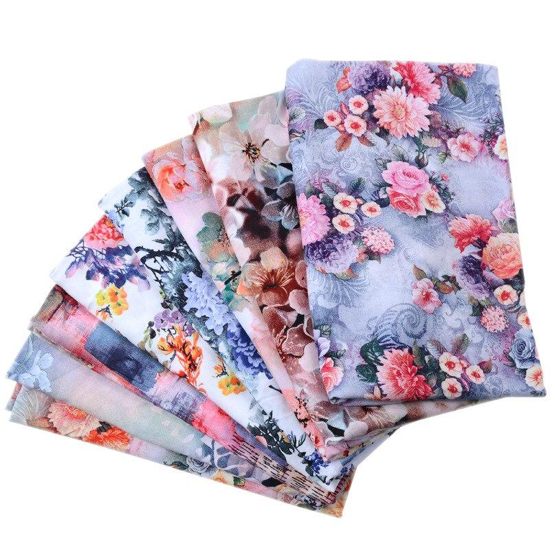 50*140cm Impresión Digital impresión tejido de seda, algodón flores forClothing casa vestido de DIY hecho a mano