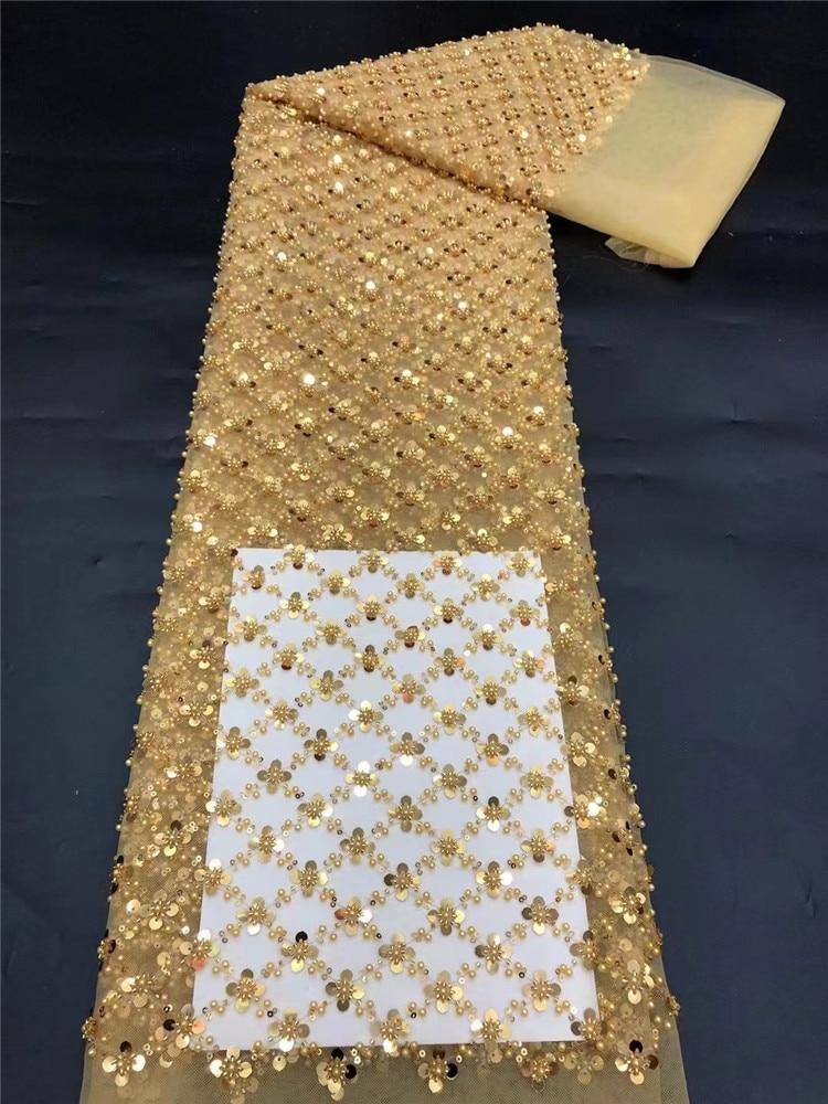 فاخر عالية الجودة Cassic الترتر الدانتيل أنيقة الأفريقية حبة أنبوب تول النسيج لفستان الزفاف NN668-V
