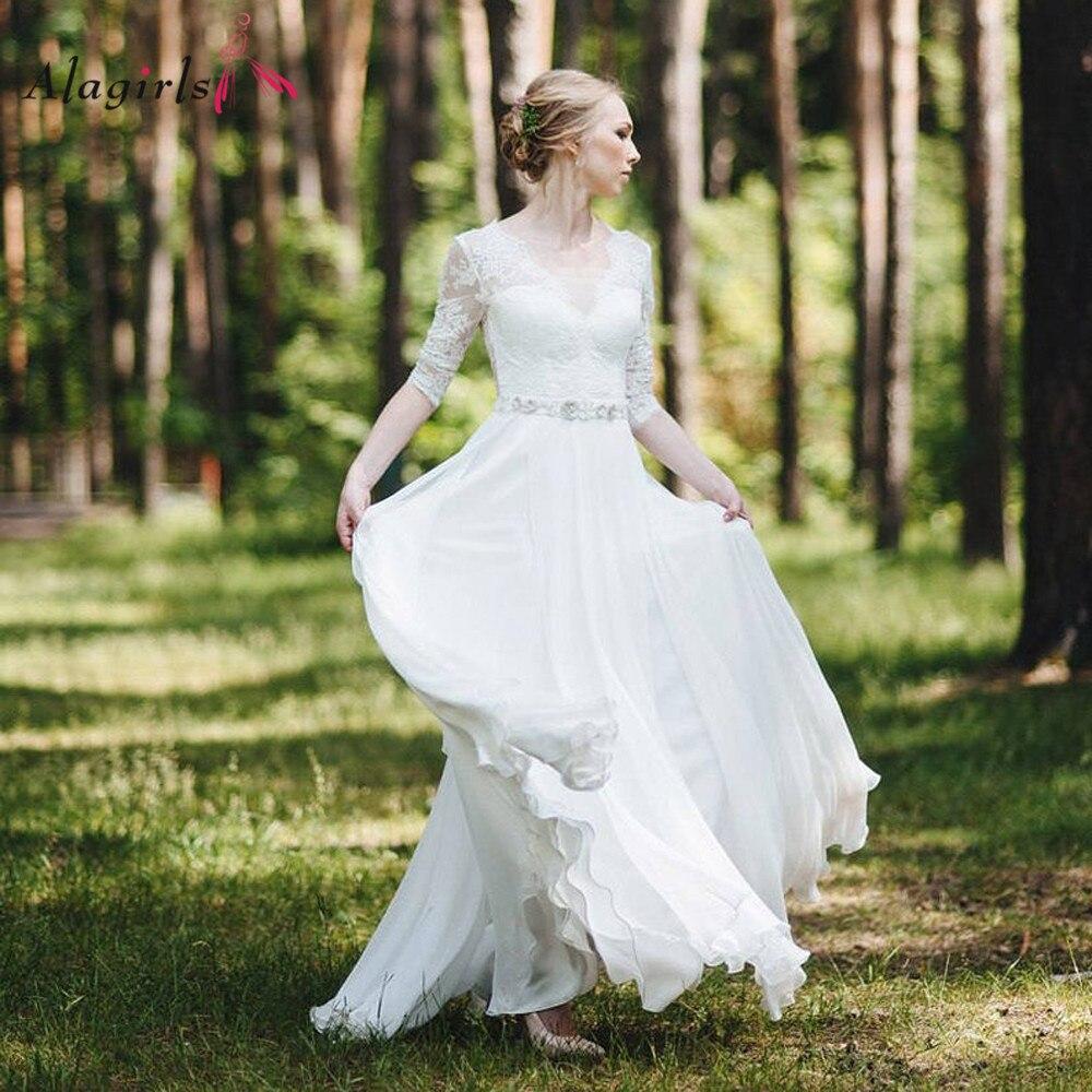 Elegant appliques lace long dress Women Illusion v-neck half sleeve chiffon robe Simple deep v back vestidos de noiva
