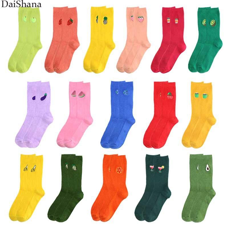 1 pares calcetines de las mujeres de dibujos animados bordado fruta calcetines de aguacates coreana japonesa Kawaii lindo largo calcetines niñas calcetines Meias