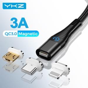 СВЕТОДИОДНЫЙ Магнитный зарядный кабель Micro USB кабель для iPhone 12 11 pro max Magnet Зарядное устройство USB Type C зарядный провод шнур 1 м 2 м