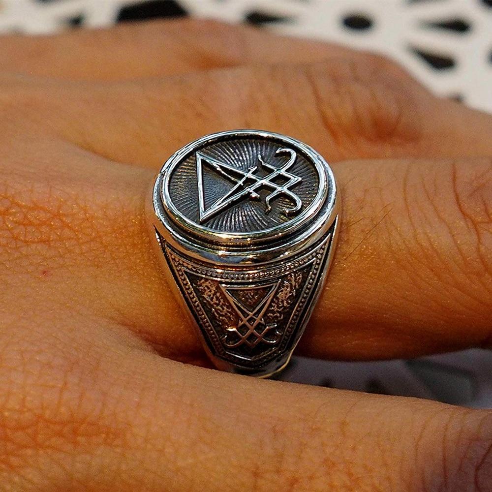 Eyhimd sigil de lucifer aço inoxidável anel de sinal selo satan biker anéis ocultismo gótico unissex jóias