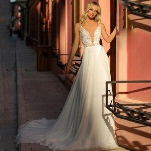 Boho Wedding Dresses Sexy V Neck A Line Lace Chiffon Beach vintage Bridal Gowns Custom Bohemian Wedding Dress Plus Size